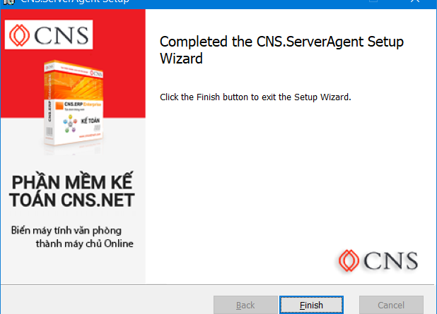 CNS Web Service installation completed successfully