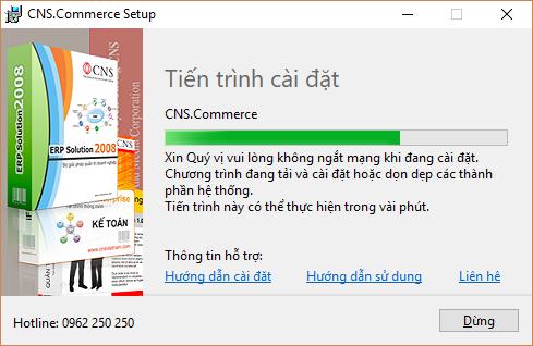Tiến trình cài đặt phần mềm CNS.Commerce