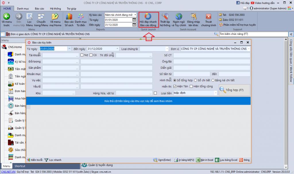Lập báo cáo động trên phần mềm CNS.NET