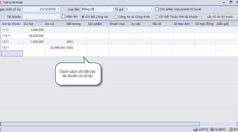 Nhập số dư đầu kỳ tài khoản trên phần mềm CNS