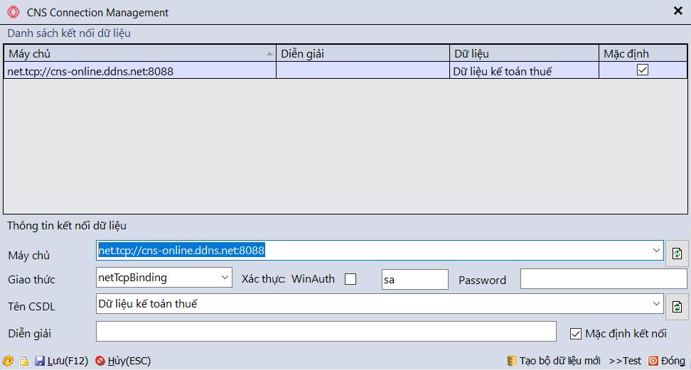 Thiết lập kết nối máy chủ cho phần mềm kế toán CNS.NET