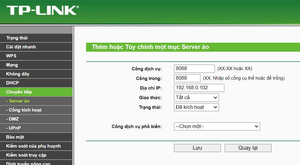 Điền các thông số để tạo virutal servers nhằm mở port modem
