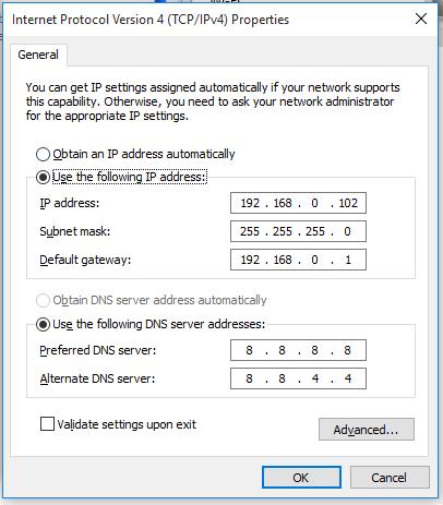 Các thông số của thiết lập ip tĩnh để mở port modem